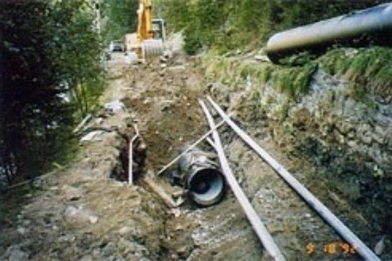 Verlegung der Druckrohrleitung entlang der alten Weißenbacher Straße